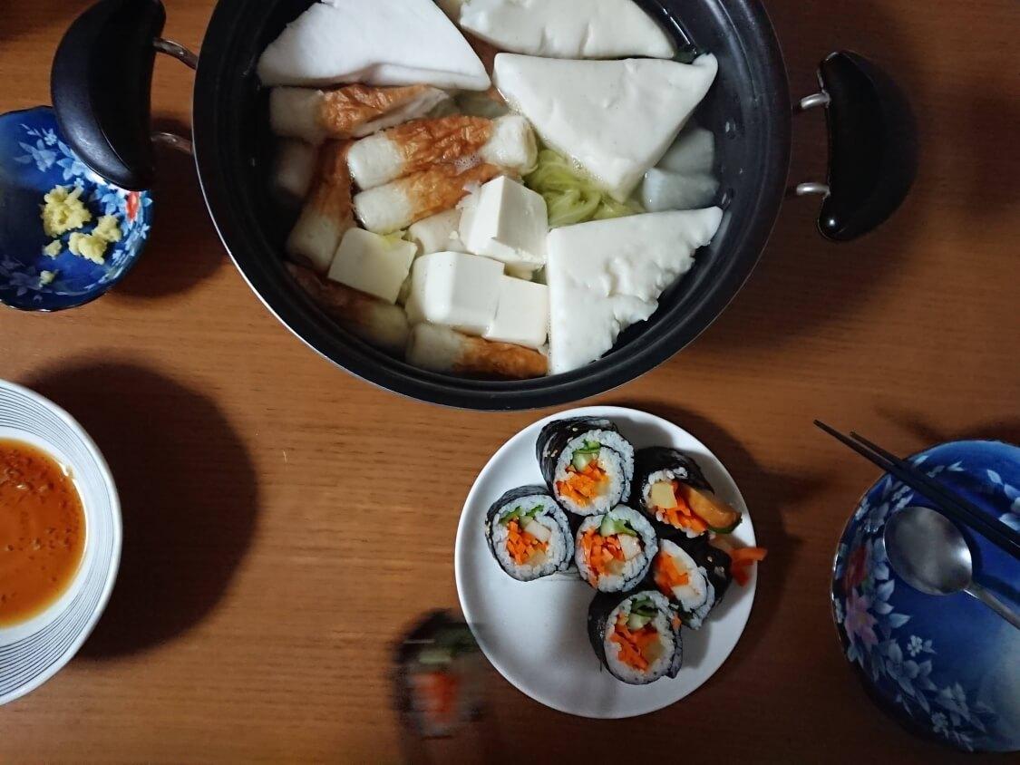 火を使わない!簡単ツナキンパ+野菜キンパの作り方。残った韓国海苔巻きの付け合わせでおでん鍋