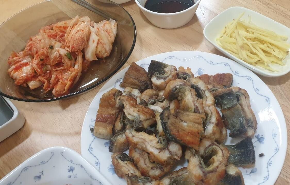 韓国のうなぎ料理。ソウルの姉の家で