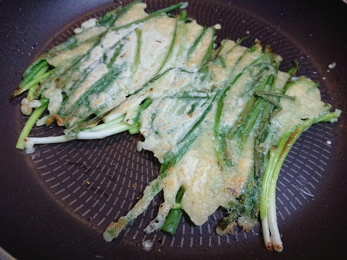 海鮮ねぎチヂミのレシピ。海鮮なしで