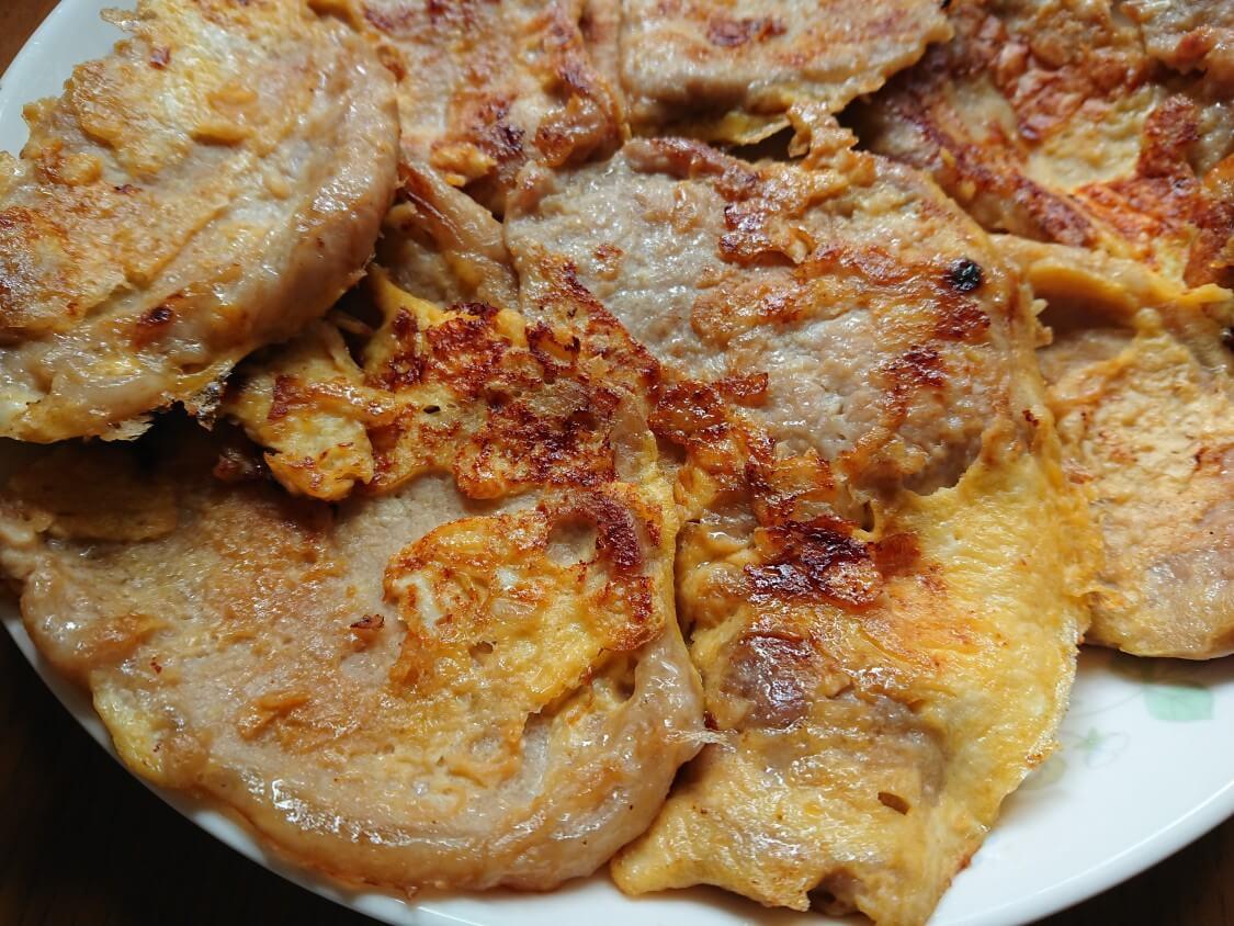 韓国の牛肉&豚肉チヂミ「육전」人気レシピ。プルコギの味付けと柔らかいお肉!