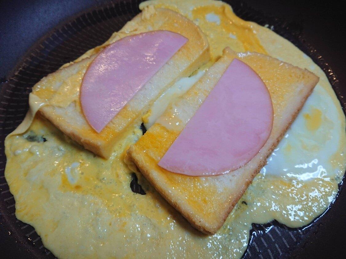 フライパンで!ハムエッグトースト。韓国の人気レシピ(ワンパントースト)とアレンジ