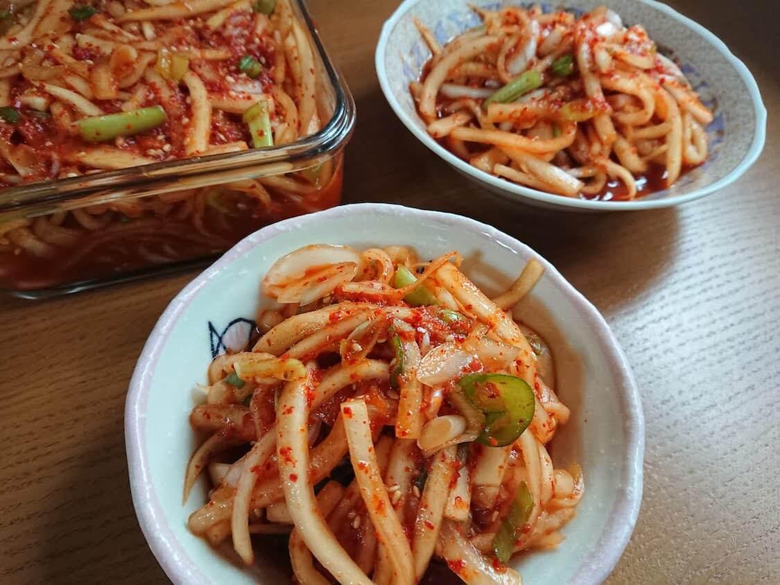 日本のいわしの魚醤で自家製大根キムチ(韓国のムセンチェ)。漬物に魚醤を活用