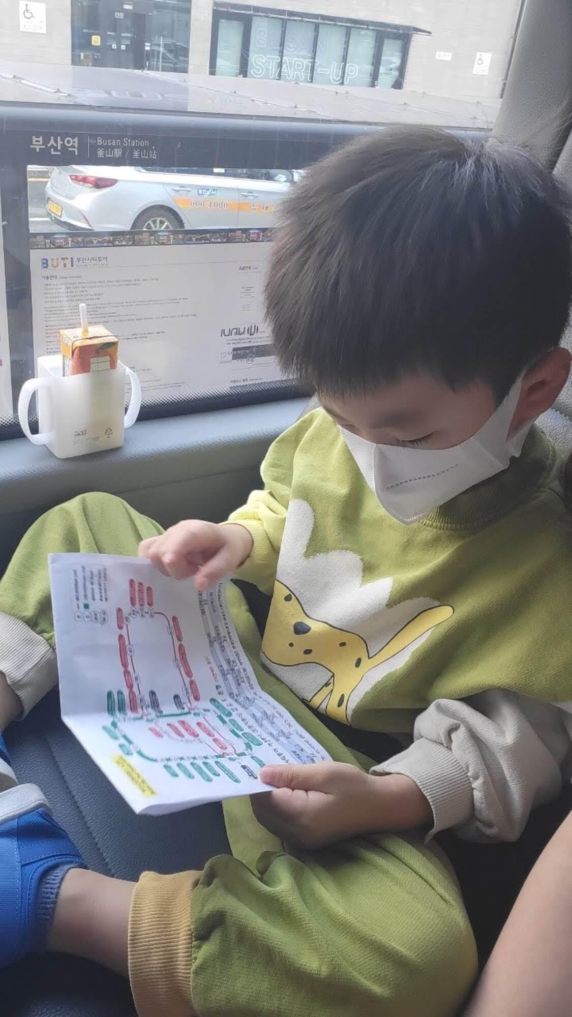 韓国の釜山旅行中の姉家族、甥っ子